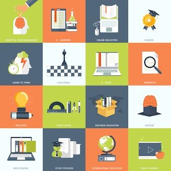 Jeu d'icônes de l'éducation, des connaissances et des sciences