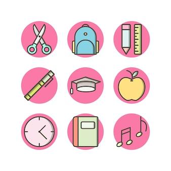 Jeu d'icônes de l'éducation