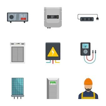 Jeu d'icônes électricien maison, style cartoon