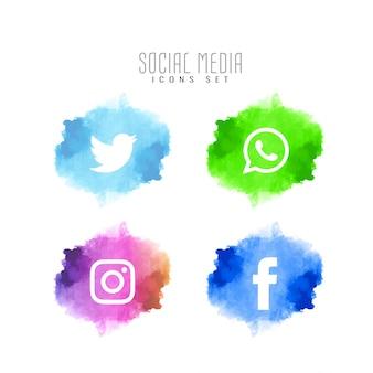 Jeu d'icônes élégantes abstrait médias sociaux