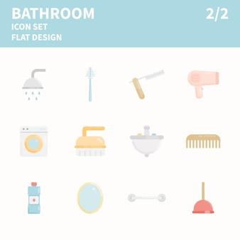 Jeu d'icônes d'élément de salle de bain
