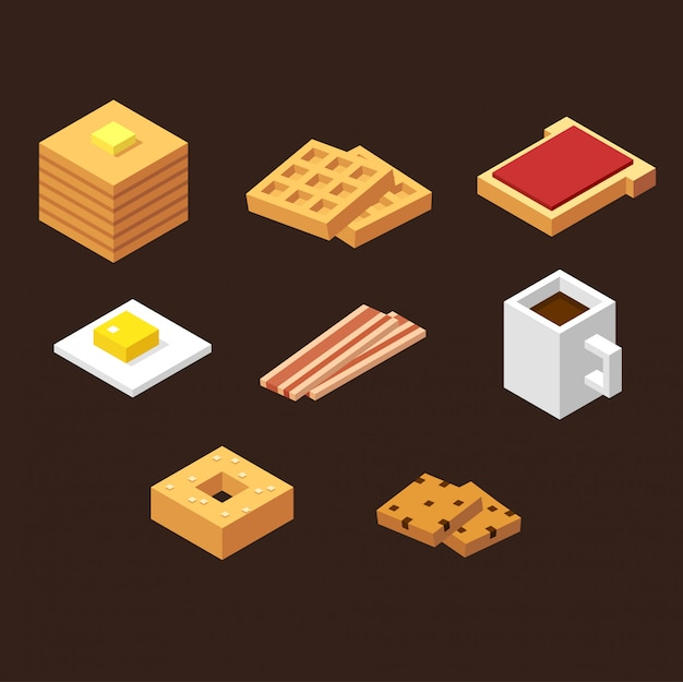 Jeu d'icônes d'éléments de petit déjeuner