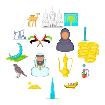Jeu d'icônes des émirats arabes unis, style cartoon