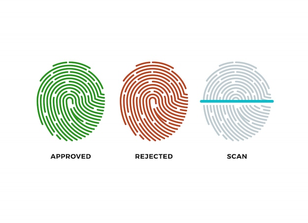 Jeu d'icônes d'empreintes digitales d'empreintes digitales. symboles approuvés, rejetés et numérisés