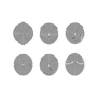 Jeu d'icônes d'empreintes digitales