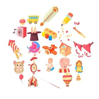 Jeu d'icônes d'enfance heureuse, style cartoon