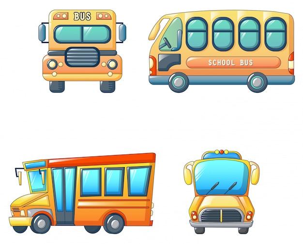 Jeu d'icônes enfants autobus scolaire retour