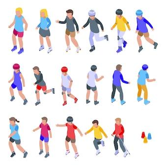 Jeu d'icônes enfants roller. ensemble isométrique d'icônes de patin à roues alignées pour le web