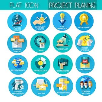 Jeu d'icônes d'entreprise de la planification de projet
