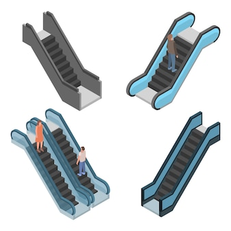Jeu d'icônes d'escalator. isométrique ensemble d'icônes vectorielles escalator pour la conception web isolée sur fond blanc