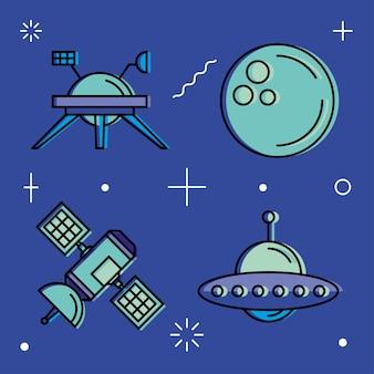 Jeu d'icônes de l'espace du cosmos de l'univers et thème futuriste