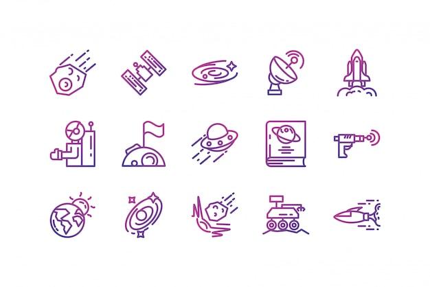 Jeu d'icônes de l'espace isolé design vectoriel
