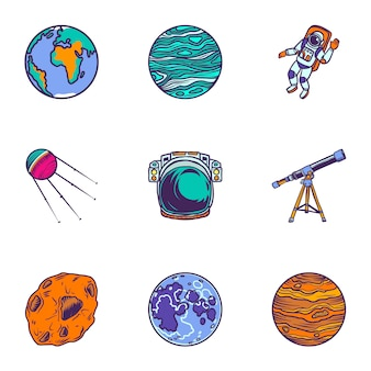 Jeu d'icônes de l'espace planète. ensemble dessiné à la main de 9 icônes planète planète
