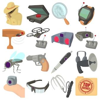 Jeu d'icônes d'espion et de sécurité