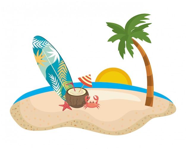 Jeu d'icônes d'été et de vacances