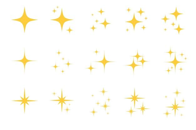 Jeu d'icônes d'étoile plate flash sparkle. silhouette d'étoile scintillante pour un éclat doré, une lumière scintillante jaune, un effet d'éclat magique et brillant. illustration vectorielle isolée.
