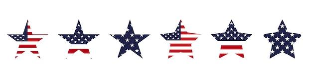 Jeu d'icônes d'étoiles des états-unis. concept de vacances usa