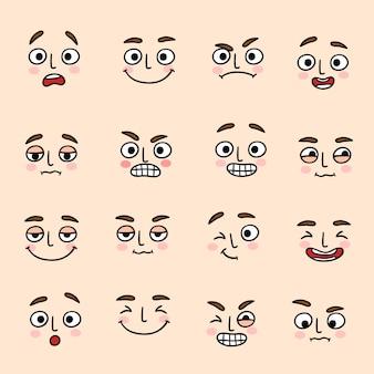Jeu d'icônes d'expression de l'humeur du visage