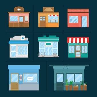 Jeu d'icônes de façades de magasins