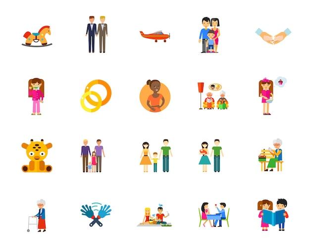 Jeu d'icônes de famille