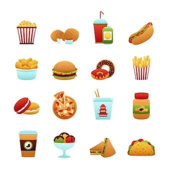 Jeu d'icônes de fast-food
