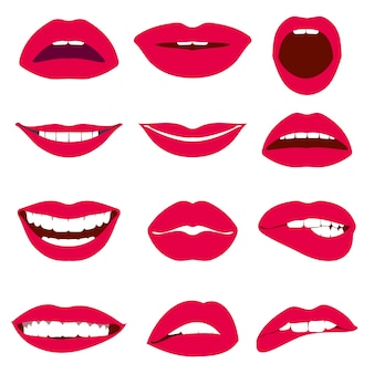 Jeu d'icônes de femme lèvres expression vectorielles