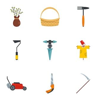 Jeu d'icônes de ferme. ensemble plat de 9 icônes vectorielles de ferme