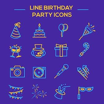 Jeu d'icônes de fête d'anniversaire thinline