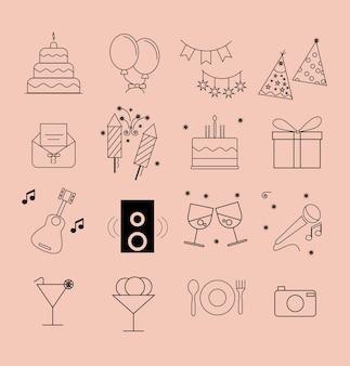Jeu d'icônes de fête anniversaire
