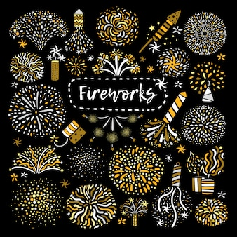 Jeu d'icônes de feux d'artifice doré de fête