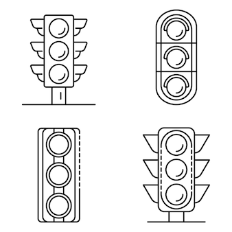 Jeu d'icônes de feux de circulation. ensemble de contour des icônes vectorielles de feux de circulation