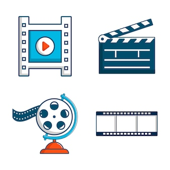 Jeu d'icônes de fichiers vidéo. ensemble de dessin animé d'icônes de vecteur de fichier vidéo mis isolé