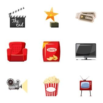 Jeu d'icônes de film, style cartoon