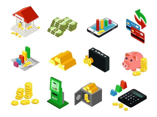 Jeu d'icônes financières d'entreprise isométrique