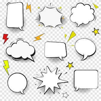 Jeu d'icônes de fine ligne discours bulle signe web contour de bande dessinée raconter. pop art, bandes dessinées, modèle vide d'icônes de dialogue client linéaire de chat, étiquette propre symbole de bulle de discours simple isolé illustration
