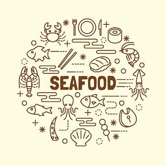 Jeu d'icônes de fine ligne de fruits de mer