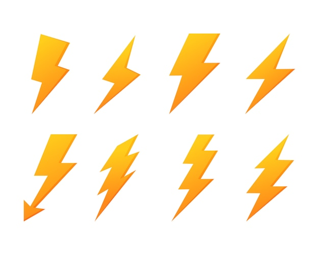 Jeu d'icônes flash éclair. puissance électrique. tonnerre jaune isolé