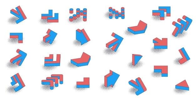 Jeu d'icônes de flèche isométrique style bande dessinée rétro design plat.