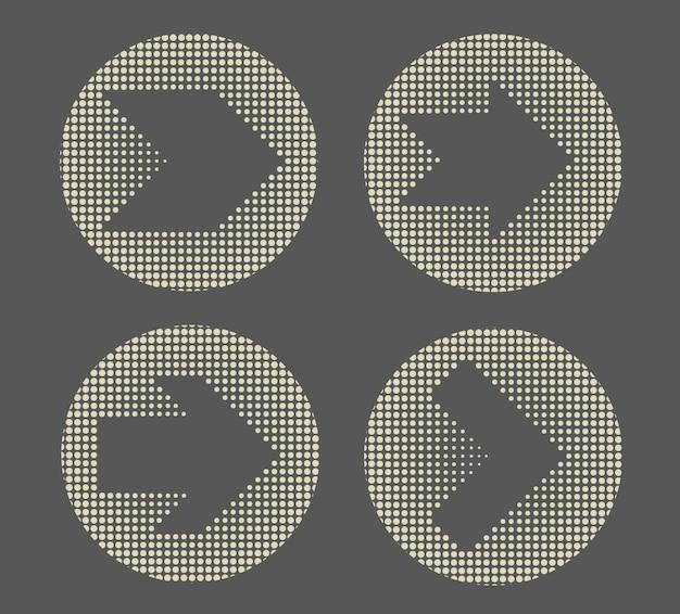 Jeu d'icônes de flèche en pointillé