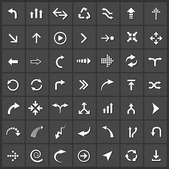 Jeu d'icônes de flèches vectorielles, prochaine sauvegarde de téléchargement vers le bas actualisation