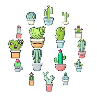 Jeu d'icônes de fleurs de cactus, style cartoon