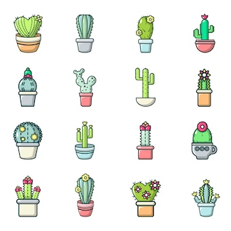 Jeu d'icônes de fleurs de cactus