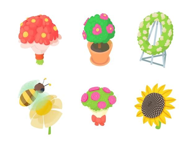 Jeu d'icônes de fleurs.