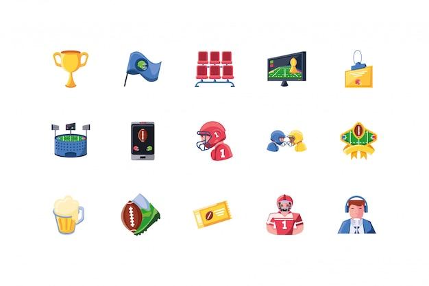 Jeu d'icônes de football américain