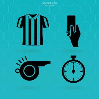 Jeu d'icônes de football. signe et symbole d'arbitre de football. illustration vectorielle.