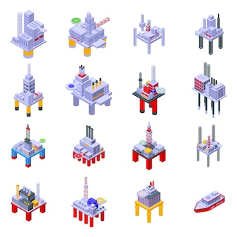 Jeu d'icônes de forage en mer. ensemble isométrique d'icônes de forage en mer pour le web