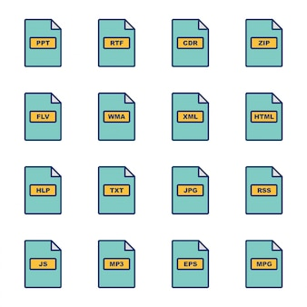 Jeu d'icônes de formats de fichiers