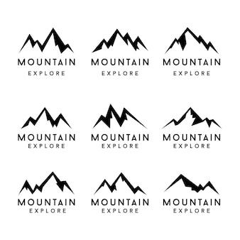 Jeu d'icônes de formes de montagne. montagne