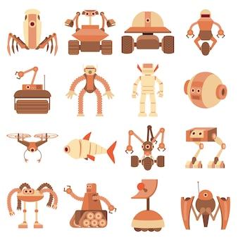 Jeu d'icônes de formes de robot
