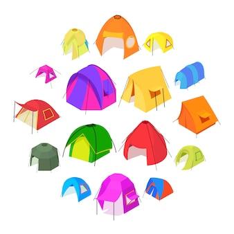 Jeu d'icônes de formes de tente, style isométrique
